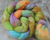 Corriedale,Masham,Mint,Spring Meadow, 120gr top, handpainted fiber for spinning