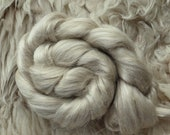 Linen, Silk, Rose, combed top, Creamy, fiber for spinning and felting, roving, without wool