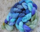 merino nylon,Seven Waters,top, handpainted fiber for spinning,ca.3,5oz