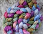 Shetland Banana Silk,Ranunkeln,4,4oz top, handdyed fiber for spinning