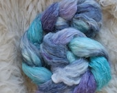 alpaca,linen,silk,Nebelzug, 100gr top, handdyed fiber for spinning