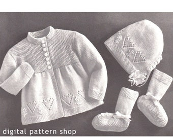 2dc6c67c9e42 Baby Crochet Pattern Easy Sweater Hat Mitts Booties Pattern