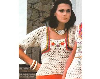 Crochet Top Pattern Vintage Bolero Look Blouse Crochet Pattern Womens Pullover Sweater Jumper Instant Download PDF Pattern- C180