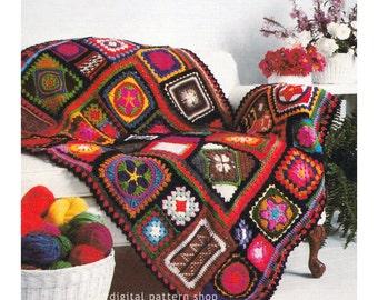"/& Cushion. 48/"" x 62/"" Crochet Pattern Jewelled Afghan//Blanket"