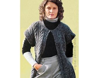 c76f5efa Vest Knitting Pattern Womens Vintage Cable Knit Vest Pattern Cap Sleeves  Open Front Jacket Instant Download PDF Pattern - K92