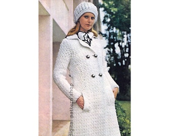 1fd72f93ad80 Crochet Coat Pattern Double Breasted Coat   Hat Crochet Pattern Womens Long  Flared Jacket Printable Instant Download PDF - C146