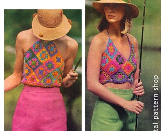 d4975d0e4b5092 Crochet Pattern 1970s Vintage Granny Square Halter Top Crochet Pattern  Hippie Top Pattern Instant Download PDF Pattern - C22