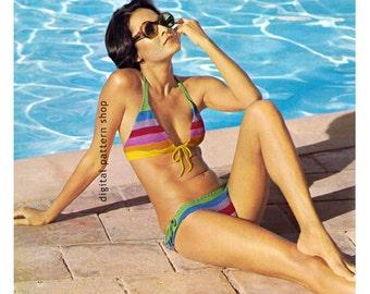 3aadef161546b Vintage Striped Bikini Crochet Pattern Womens Swimsuit Pattern Beachwear  Instant Download PDF Pattern - C87