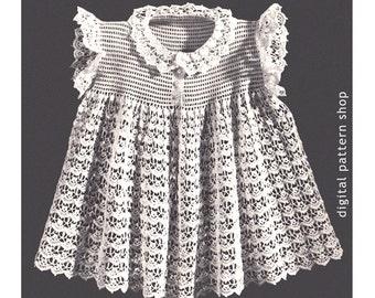a4bce131383b Baby Girls Crochet Dress Pattern Ribbon Trim Lacy Shell Stitch
