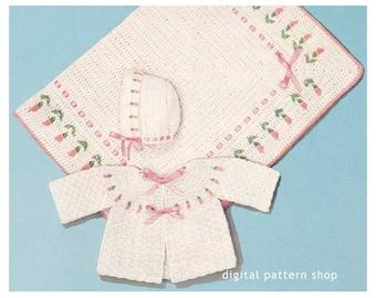 0d93289196c0 Baby Crochet Pattern Square Yoke Sweater Matinee Jacket Raglan