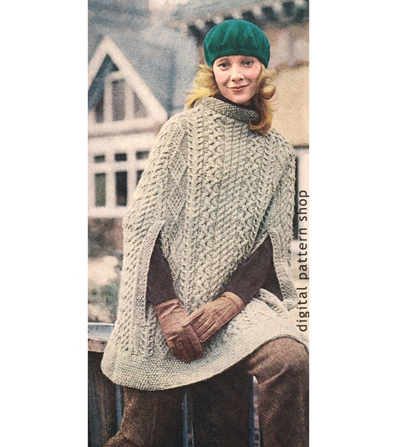 Vintage 1970s Knit Cape Pattern Womens Irish Aran Poncho | Etsy