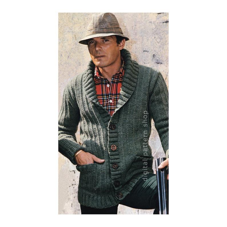 0bb089e14af1 Mens Knit Cardigan Pattern Sweater Jacket Knitting Pattern PDF