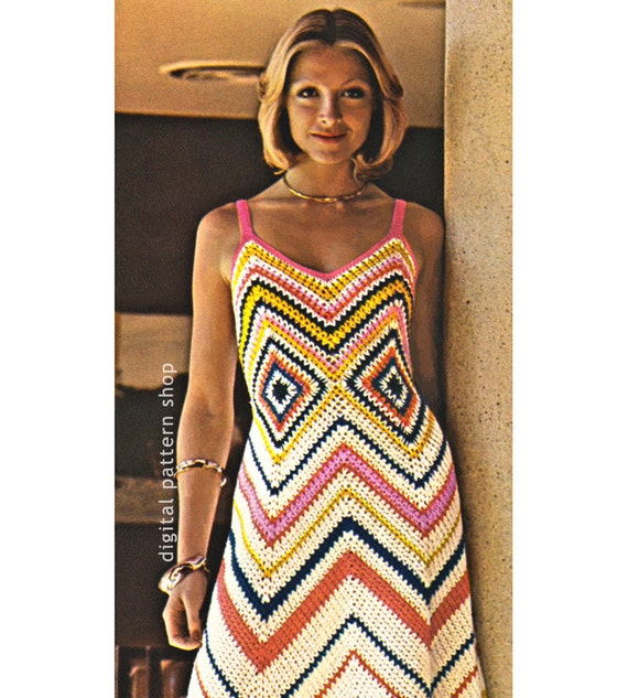 Womens Crochet Dress Pattern Vintage Chevron Maxi Dress Etsy