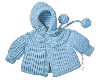 Knit Baby Hoodie Pattern, 1960s Vintage Hooded Jacket Knitting Pattern Boys & Girls Sweater PDF Instant Download 6 Months 1, 2 Years K71