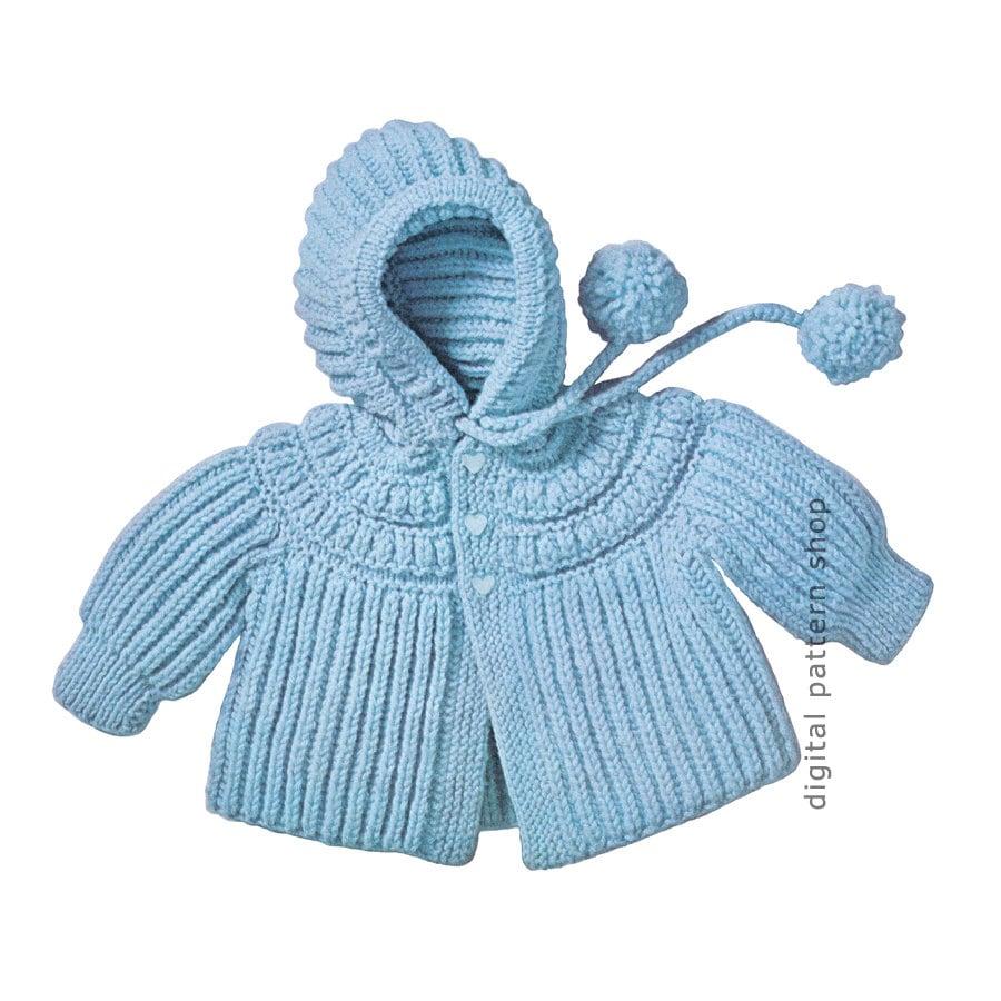 ba3f3fc4f91669 Knit Baby Hoodie Pattern 1960s Vintage Hooded Jacket Knitting