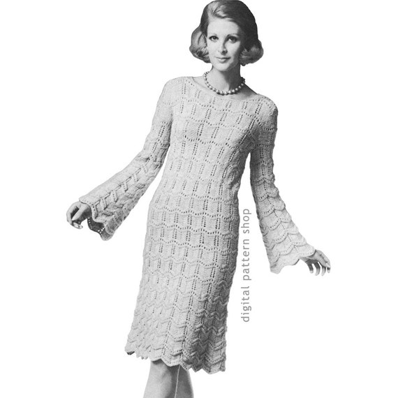 Trumpet Sleeve Dress Knitting Pattern Vintage Knit Dress Etsy Cool Bell Sleeve Dress Pattern