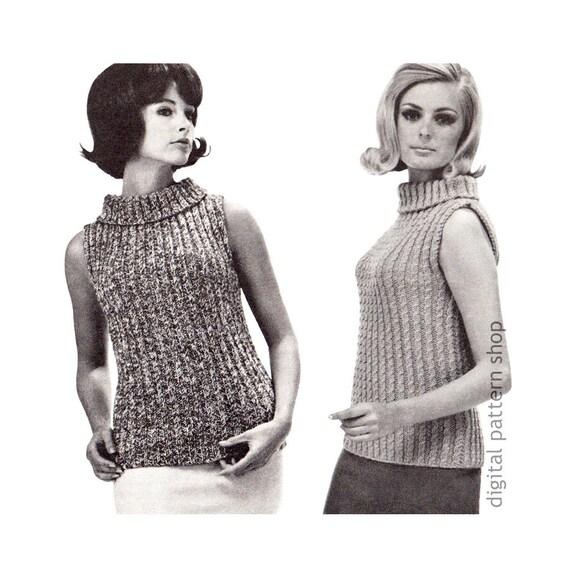 Knit Sweater Pattern Slim Sleeveless Shell Top Knitting Etsy