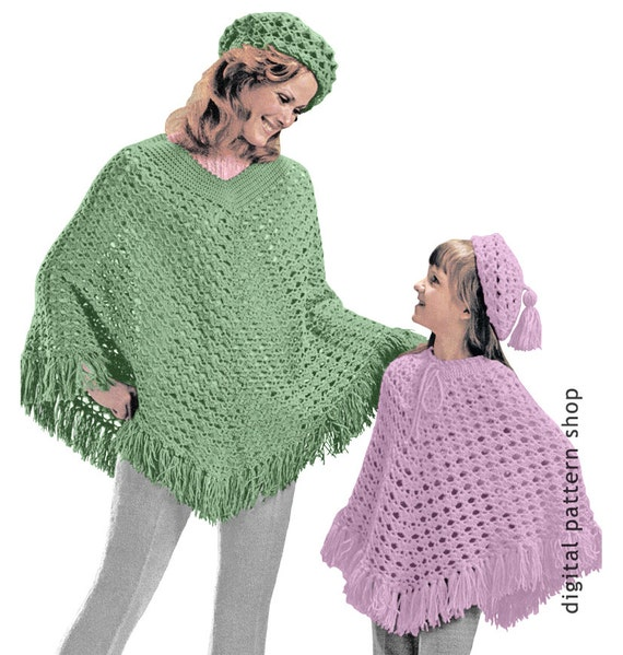 Beret Hat Poncho Crochet Pattern 1970s Vintage Womens And Etsy