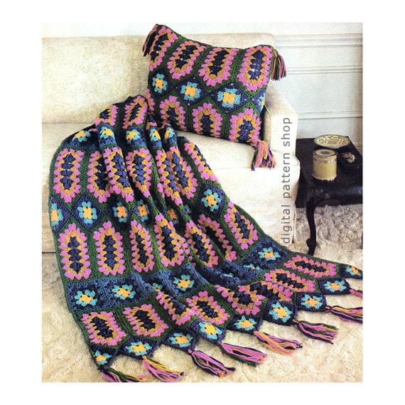 Crochet Afghan Pattern Vintage Jeweled Granny Square Afghan Etsy