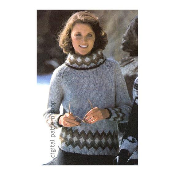 Knit Sweater Pattern Raglan Turtleneck Sweater Knitting Etsy