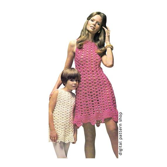 Crochet Dress Pattern Womens Girls Shell Summer Dress Etsy