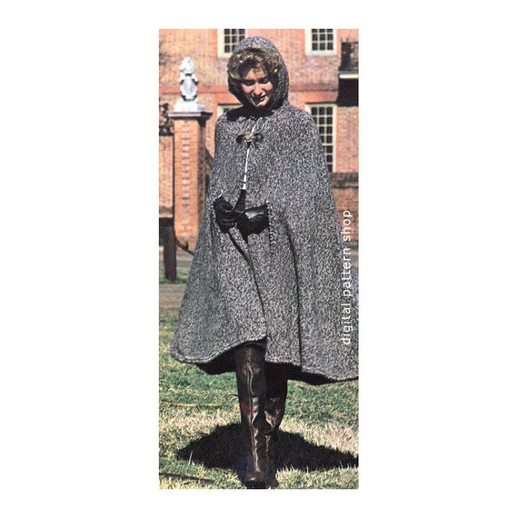 Womens Hooded Cape Knitting Pattern 1970s Vintage Long Knit Etsy