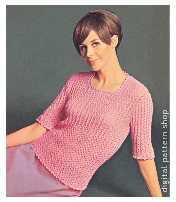 Sweater Knittingpattern Womens Vintage Lace Knit Sweater Etsy