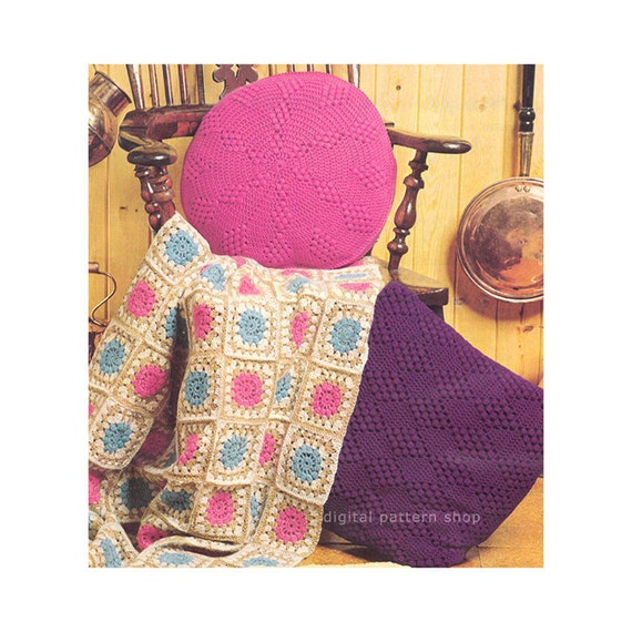 Granny Square Blanket Pillow Crochet Pattern Afghan Cushions Etsy
