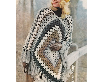 1970s Vintage Crochet Poncho Pattern Easy Granny Square Poncho Crochet Pattern PDF Instant Download - C55