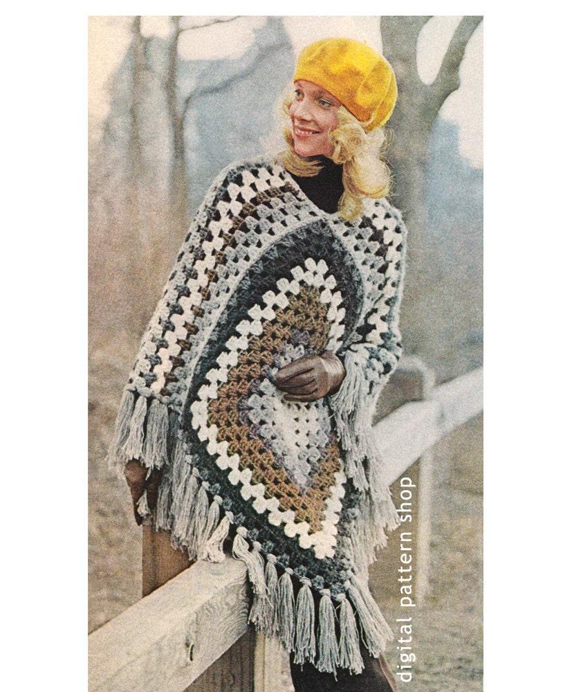 1970s Vintage Crochet Poncho Pattern Easy Granny Square Poncho Etsy