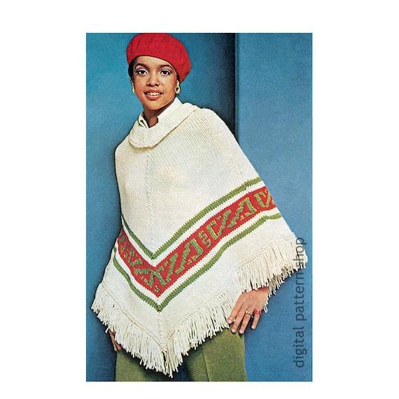 Poncho Knitting Pattern Cowl Neck Poncho Pattern Womens Etsy