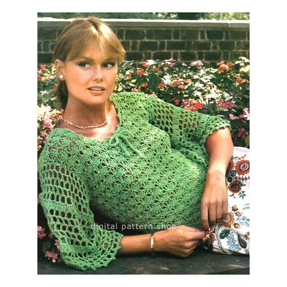 Crochet Top Pattern Shell Lace Sweater Crochet Pattern Flared Etsy