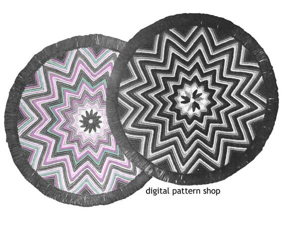 Crochet Rug Pattern 1940s Vintage Round Star Rug Zig Zag Rug Etsy