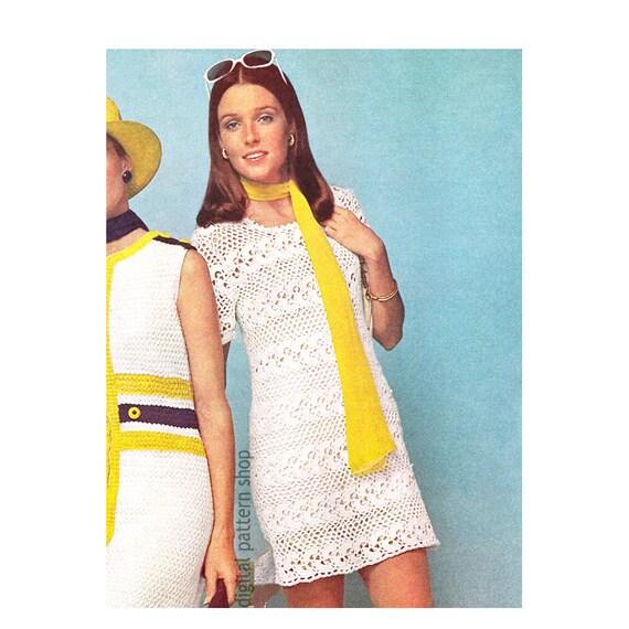 Crochet Dress Pattern Womens Lace Dress Wide Band Mini Dress Etsy