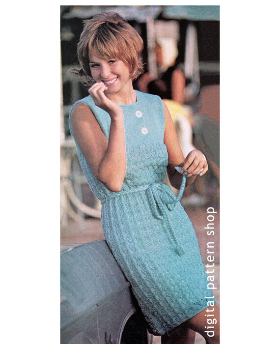Lacy Dress Knitting Pattern Knit Lace Dress Pattern Womens Etsy