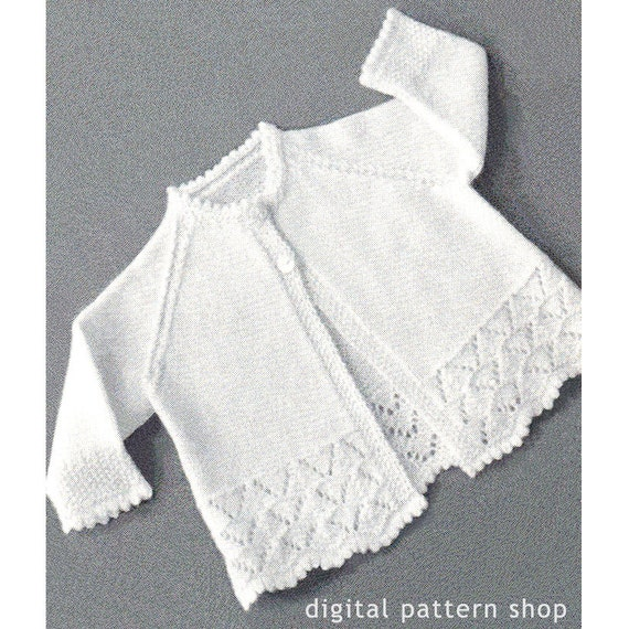 1950s Vintage Knit Baby Sweater Pattern Lacy Raglan Sleeve | Etsy