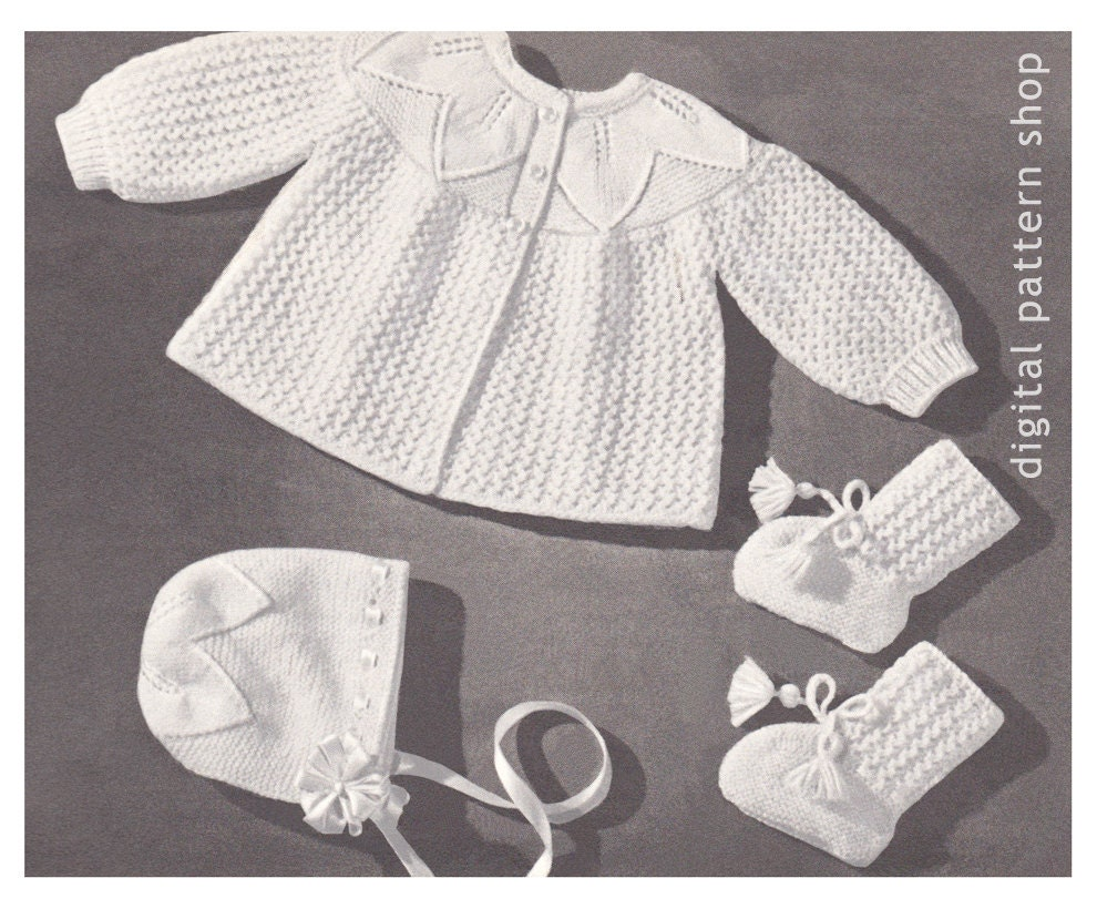 Vintage Baby Knitting Pattern Sweater Bonnet Booties Leaf & | Etsy