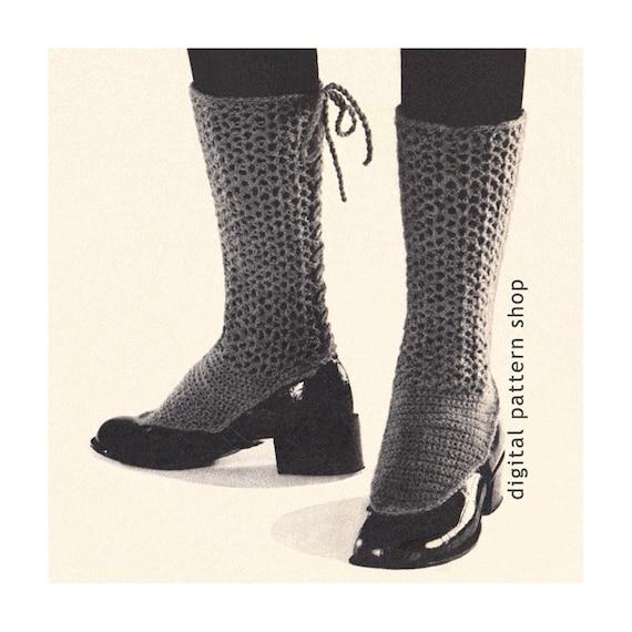 Lacy Spats Crochet Pattern Back Laced Adjustable Spats Vintage