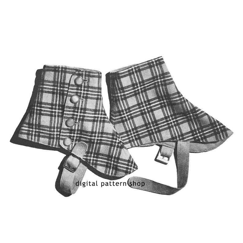 Spats, Gaiters, Puttees – Vintage Shoes Covers 1940s Vintage Spats Pattern Steampunk Gaiters Sewing Pattern Victorian Shoe or Boot Covers Digital Instant Download -S02 $4.45 AT vintagedancer.com
