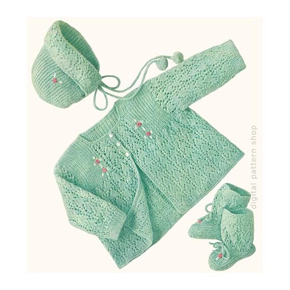 b9d00fe99d16 Vintage Baby Knitting Pattern Lacy Sweater Bonnet   Booties