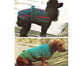 Two 1970s Vintage Dog Sweater Crochet Patterns Easy Striped Dog Coat & Patterned Dog Coat Pattern DIY Instant Download C127
