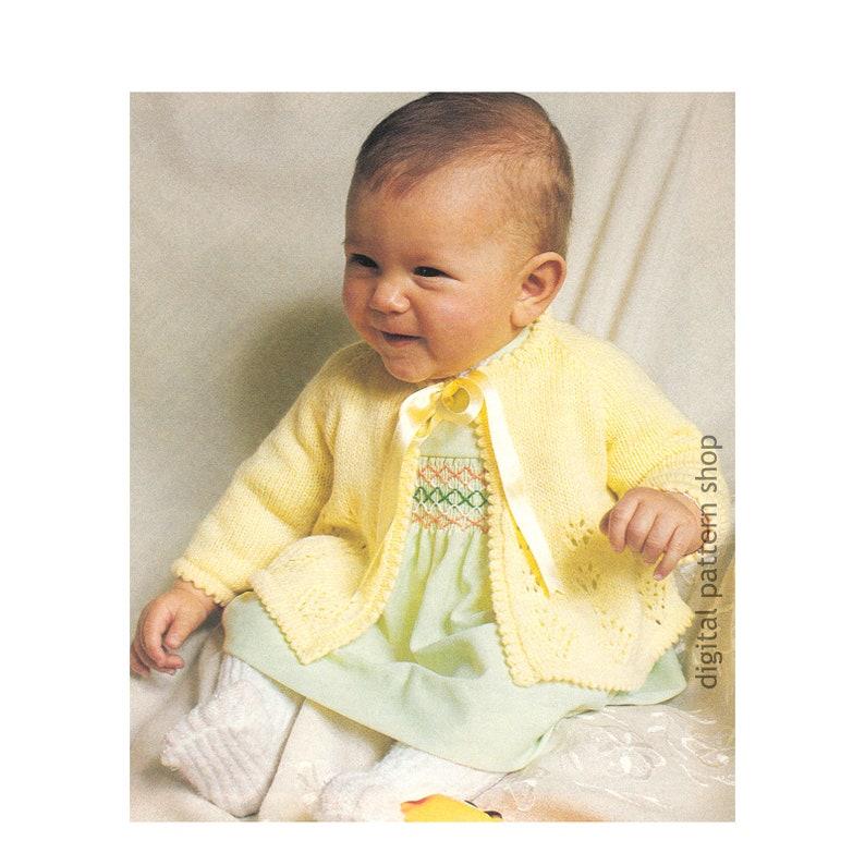 da36e1705 1970s Baby Knitting Pattern Matinee Jacket Lacy Raglan Sleeve