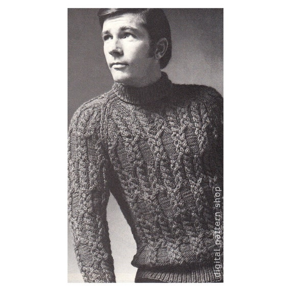 Mens Sweater Knitting Pattern Braided Cable Raglan Sweater Etsy