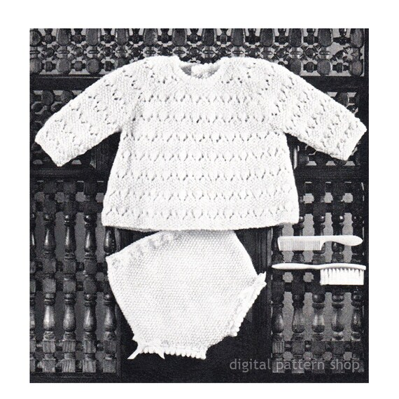 Baby Girls Knitting Pattern Top and Knickers Infant Raglan | Etsy