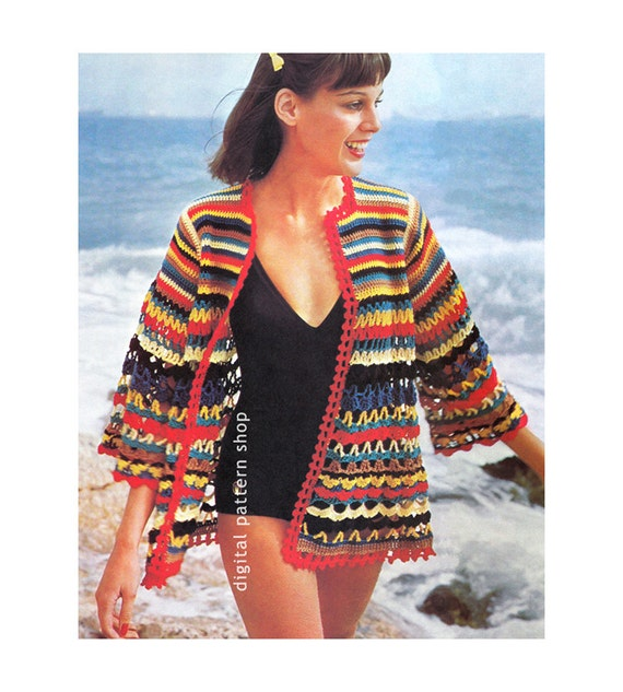 Crochet Beach Cover Up Pattern Womens Wrap Beach Jacket Etsy