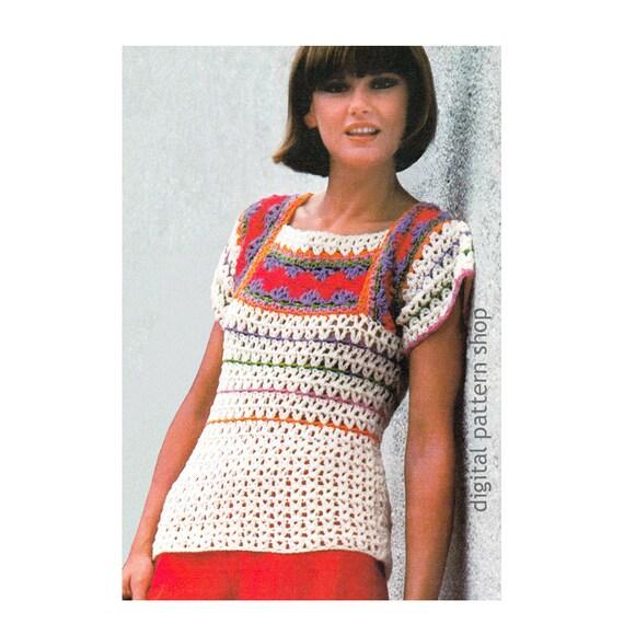 Crochet Top Pattern Striped Sweater Crochet Pattern Square Etsy