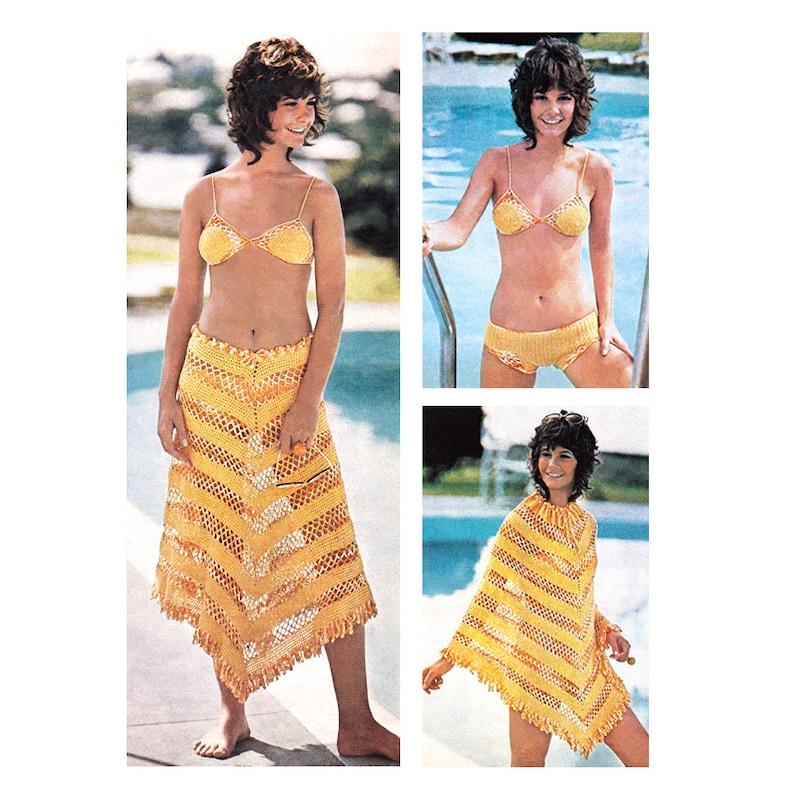 27dd5585ae Bikini Crochet Pattern Swimsuit Mesh Beach Skirt or Poncho | Etsy