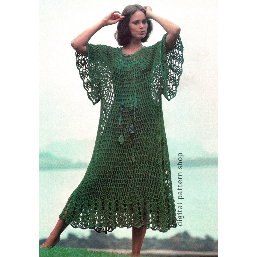Crochet Beach Dress Pattern Mesh Caftan Hippie Dress Crochet Etsy