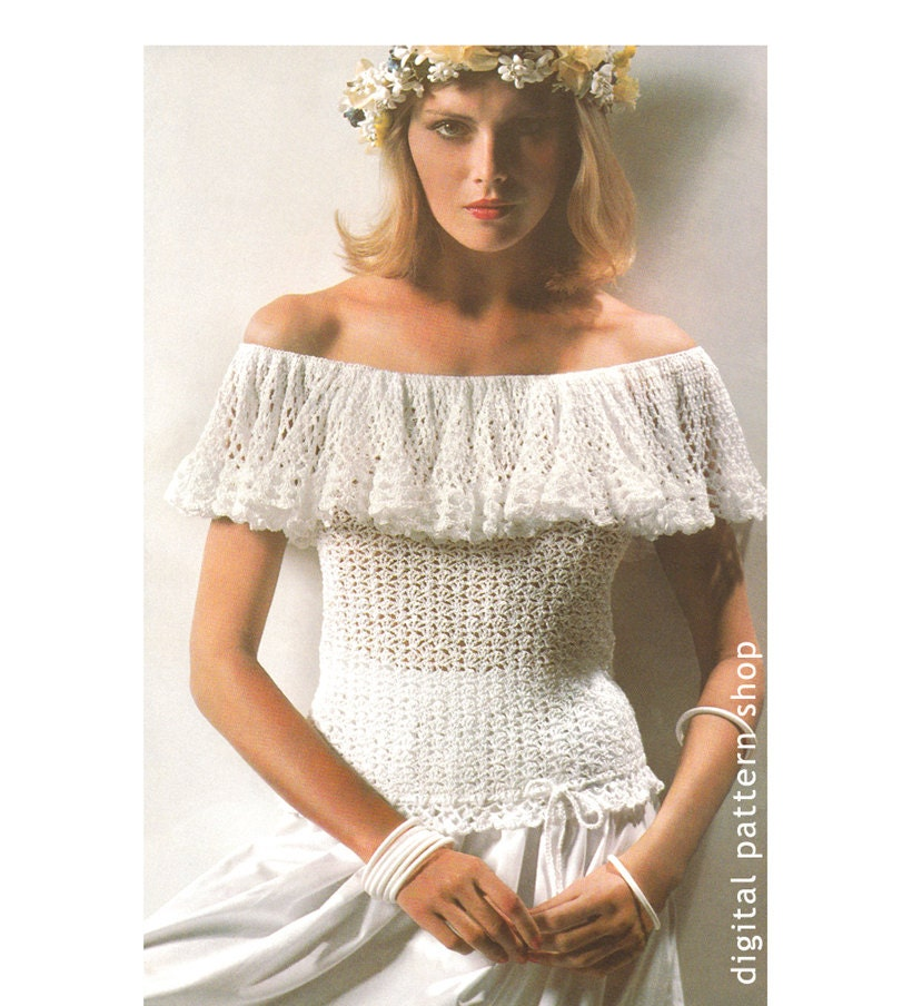 305ae2a2491 Crochet Top Pattern 1970s Vintage Ruffle Off Shoulder Top Crochet Pattern  Bardot Top PDF Instant Download Womens Size 8 to 16 - C39