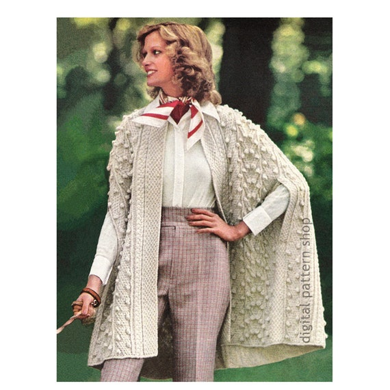 Wrap Cape Knitting Pattern Aran Knit Cape Pattern Womens Arm  198a7f53a8
